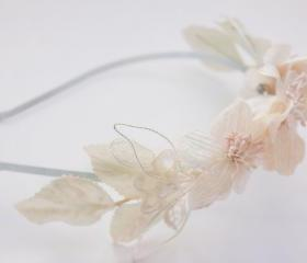 bridal headband with velvet flowers, milinery flower headband