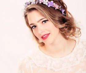 Bridal flower crown, Purple flower, woodland wedding, wedding hair accessory