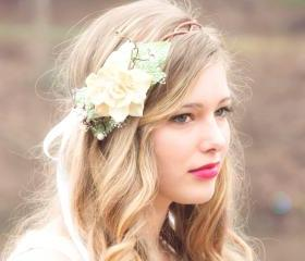 natural pine cone rose floral hair crown 'Take my breath away'