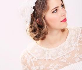 bridal headband, flower headpiece, white flower headband, bidal headband, wedding sikl flower, white silk rose