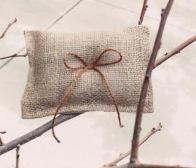 burlap ring pillow, boy ring bearer, rustic wedding, shabby chic