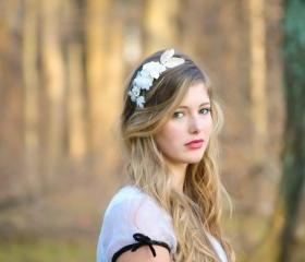 flower crown, bridal headband with velvet flowers and rhinestone
