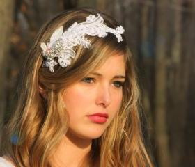 bridal headband, lace bridal halo, crystal rhinestone headpiece
