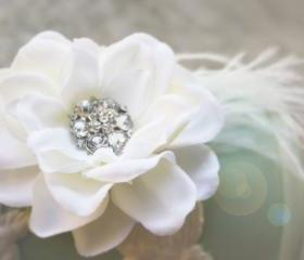 Bridal clip, wedding accessories, flower clips creamy gardenia with vintage rhinestone