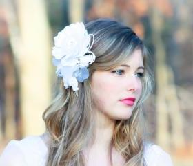 bridal rose head piece white bridal flower bridal hair piece