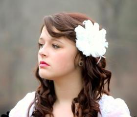 feather flower, bridal flower clip, wedding hair accessories