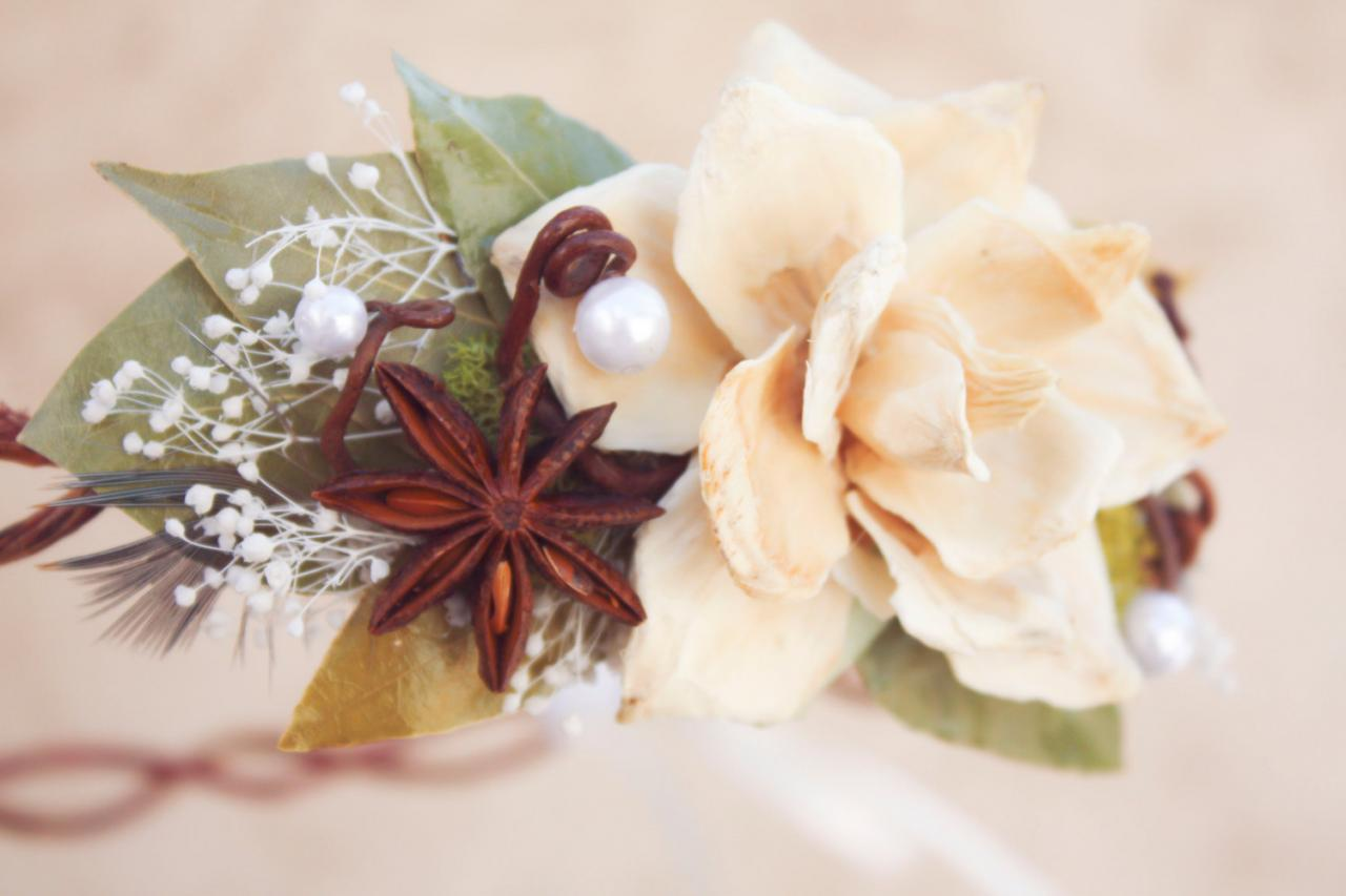 bridal crown, bridal head piece, wedding head piece, natuaral hair crown, natural pine cone rose floral hair crown 'Take my breath away'