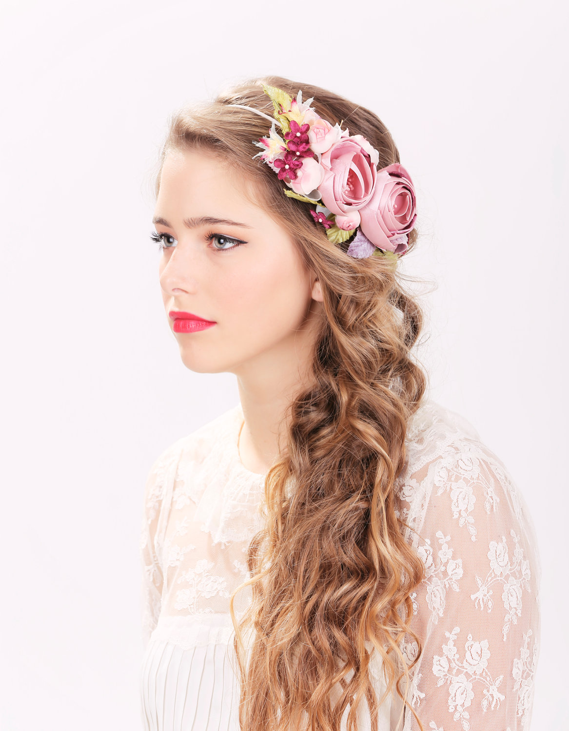 Wedding Hair Flowers Pink : Bridal flower hair crown woodland wedding pink