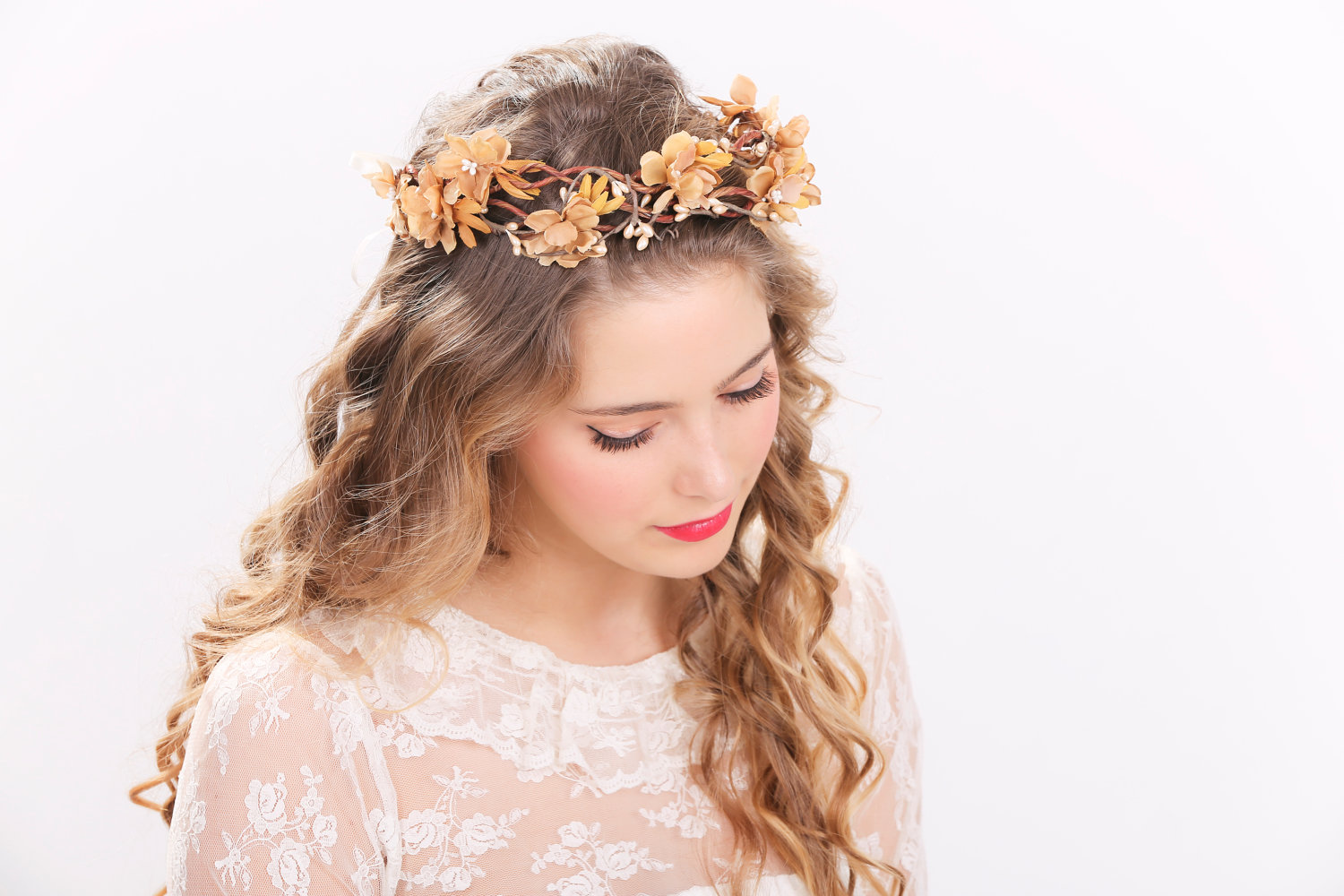 Rustic Flower Crown Bridal Headband Flower Crown Headpiece Wedding Headban