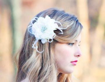 Bridal Flower, Fascinator, Hair Clip, Wedding Flower, bridal hair clip